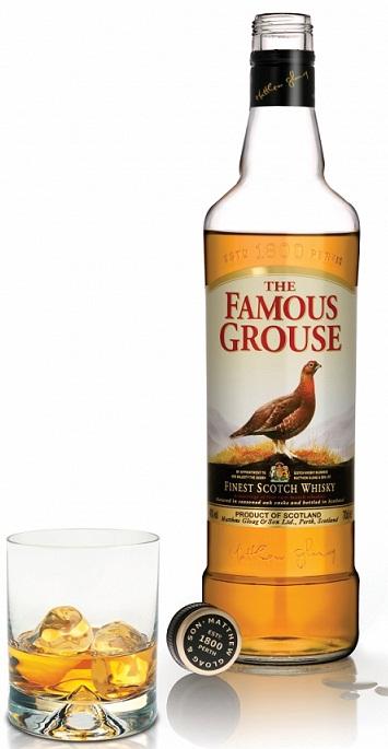 Botella de whisky Famous Grouse en su presentación estándar